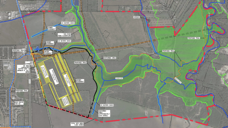 A site map of the TJX Distribution center in District 3 near Mission Espada.