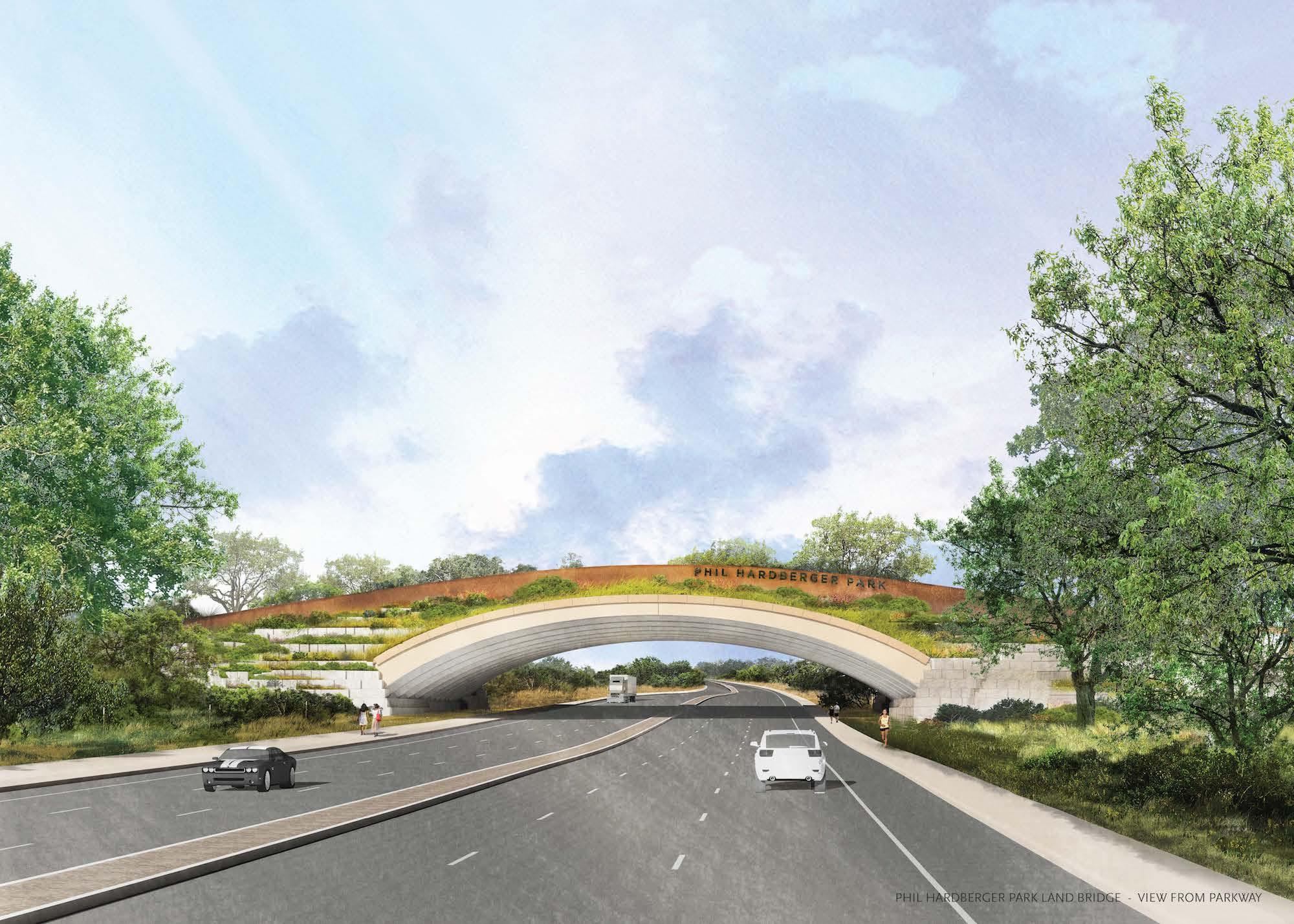 This updated rendering shows what the Phil Hardberger Park land bridge will look like to motorists traveling on Wurzbach Parkway.