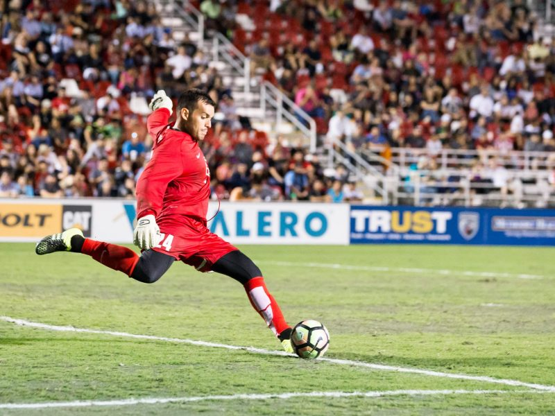 San Antonio FC's Diego Restrepo prepares to kick the ball down the field during the second half of a USL soccer match versus The Phoenix Rising FC at Toyota Field.