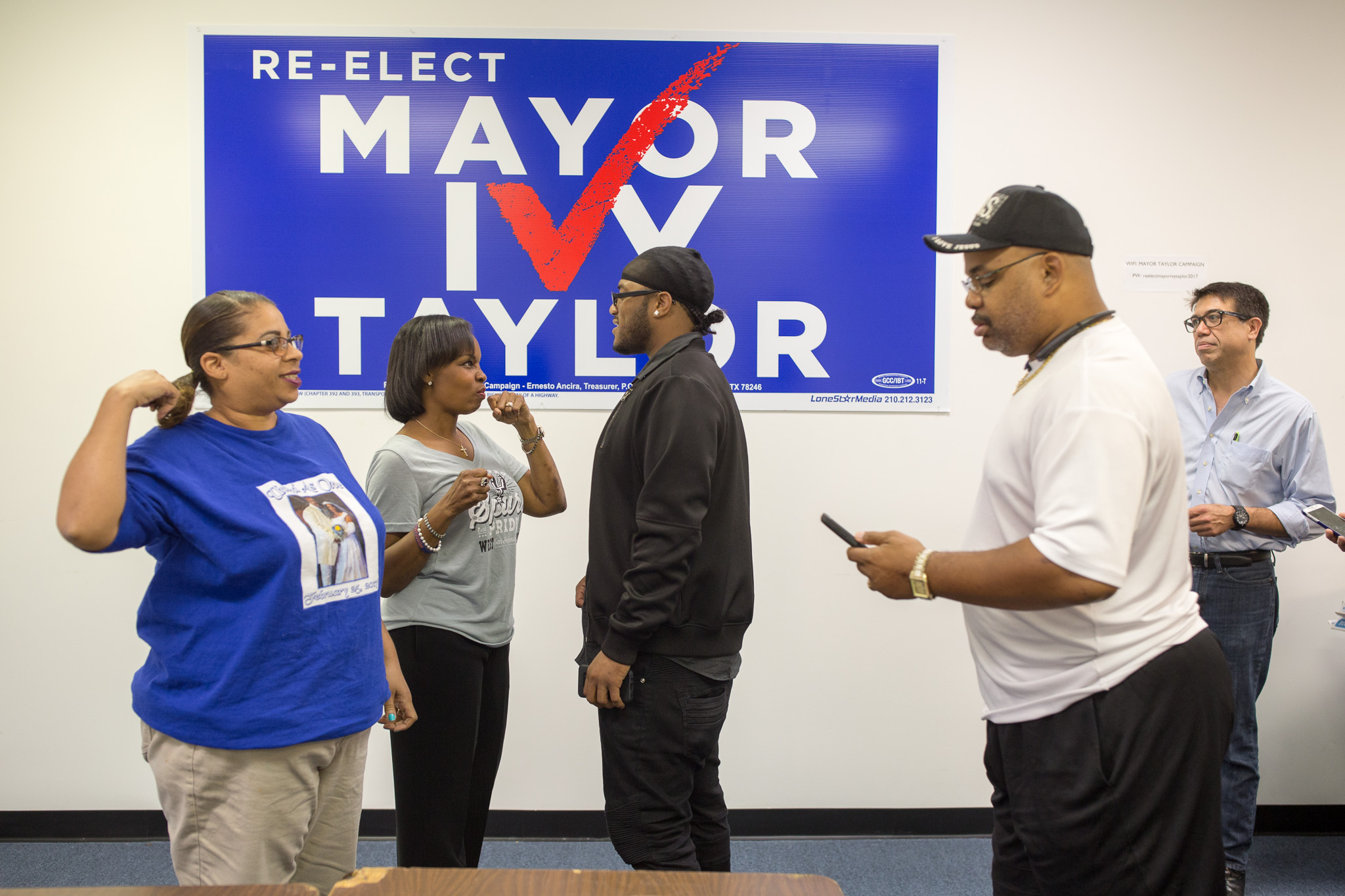 Mayor Ivy Taylor speaks with supports at her campaign headquarters located at 7101 San Pedro Ave.