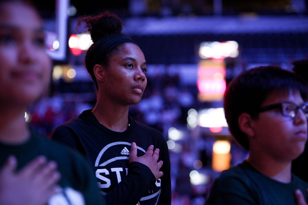Nia Coffey during the National Anthem.