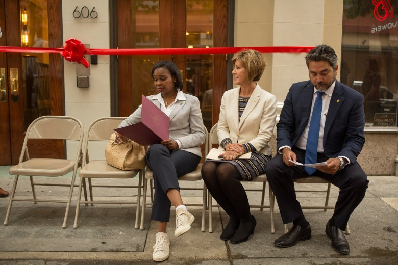 (from left) Mayor Ivy Taylor, City Manager Sheryl Sculley, and Councilman Roberto Treviño (D1) prepare for their speeches during the ribbon cutting of the Maverick Apartments.