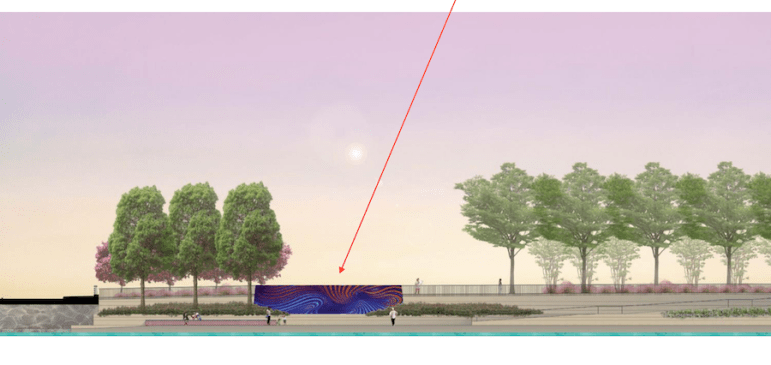 Alex Rubio's piece that focuses on water will partially wrap a maintenance shaft along the creek.