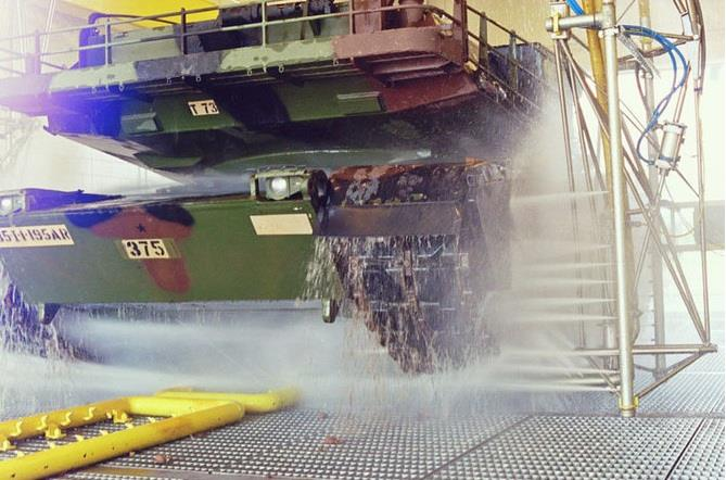 Tank gets washed n decontaminated Alamo Wash System