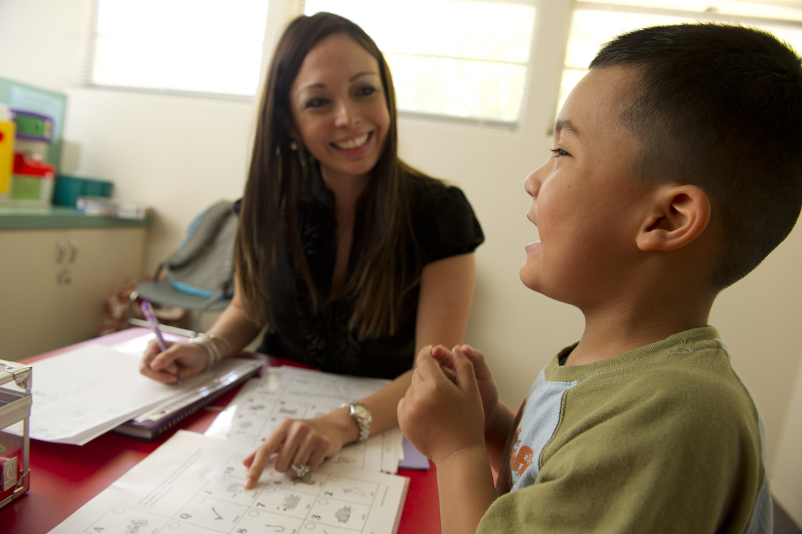 A therapy session at Harry Jersig Speech-Language-Hearing Center at OLLU.