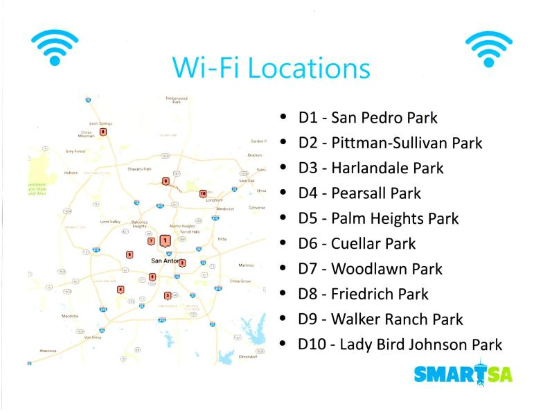 WiFi locations at city parks summer 2017