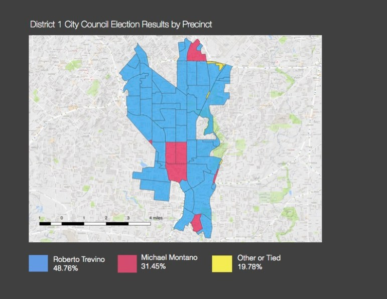 Coucilman Roberto Treviño received a majority of the vote in most precincts, receiving 48.74% of the district vote. Michael Montaño secured a significantly competitive voter base (31.45%) in just 7 precinct, including those that include Monte Vista, Alta Vista, and portions of Tobin Hill neighborhoods.