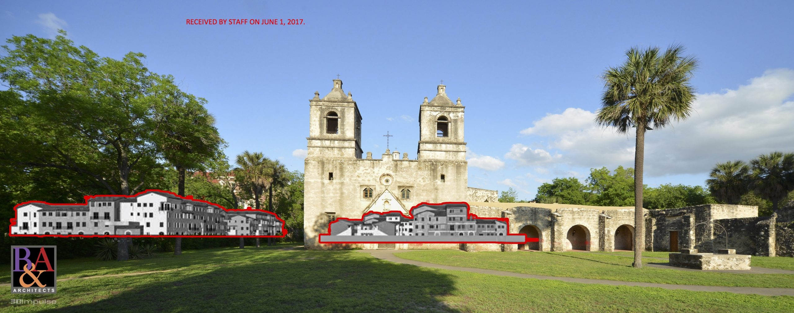 210 Development Group's visualization of the view shed at Mission Concepción.