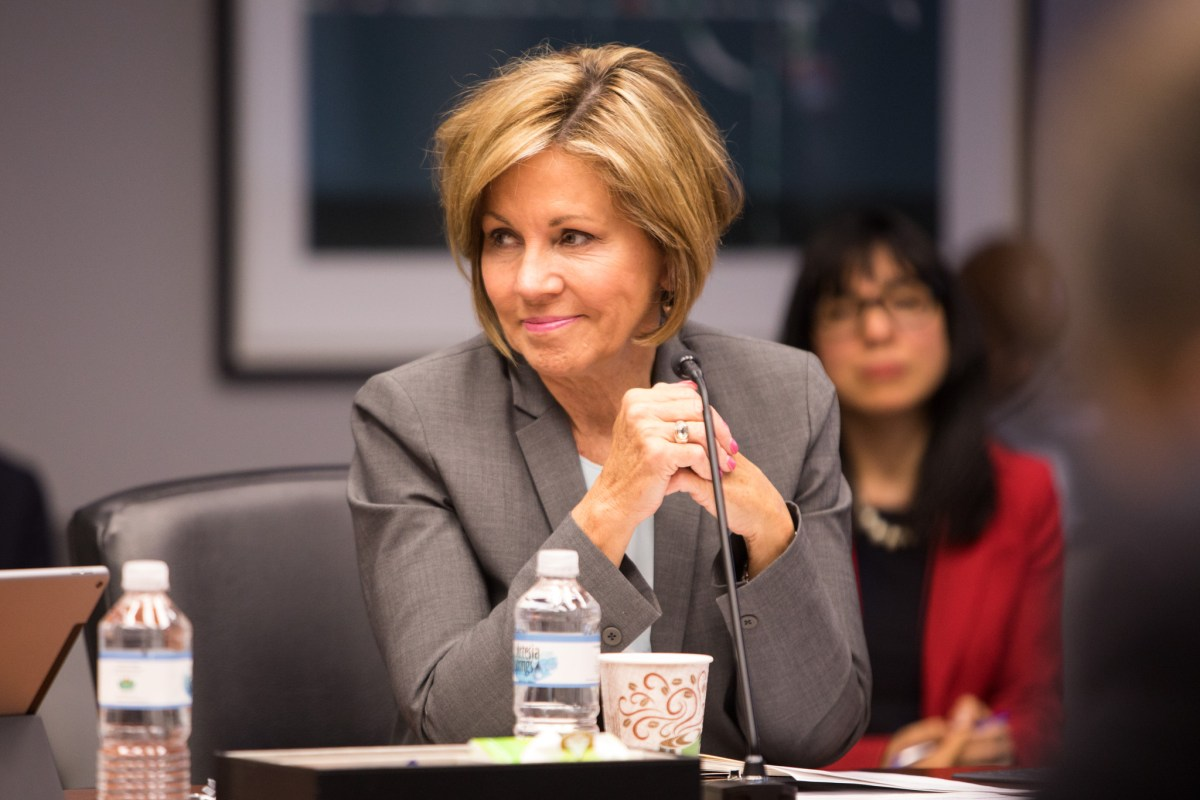 City Manager Sheryl Sculley smiles at B Session.