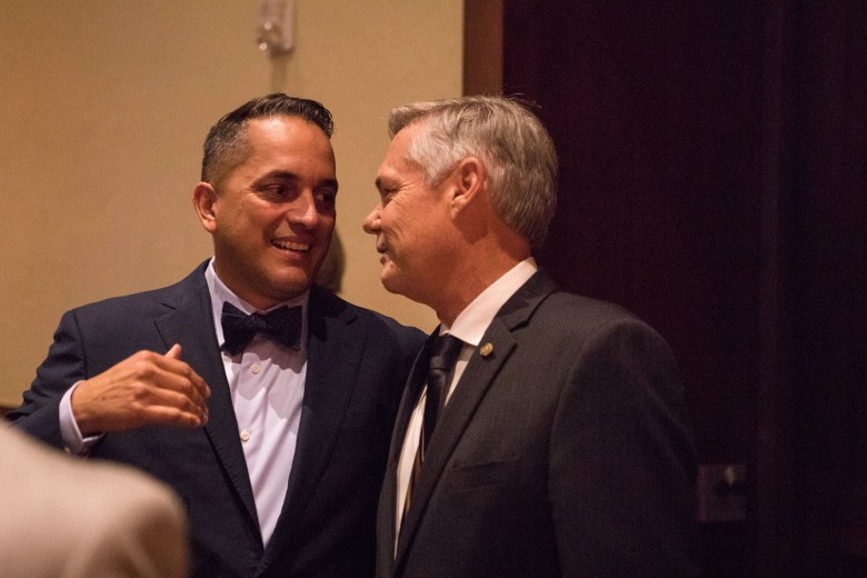 (From left) Councilman Greg Brockhouse (D6) and Councilman Clayton Perry (D10) chat at the reception honoring San Antonio's 2017 City Council leadership at the Pearl Stable.