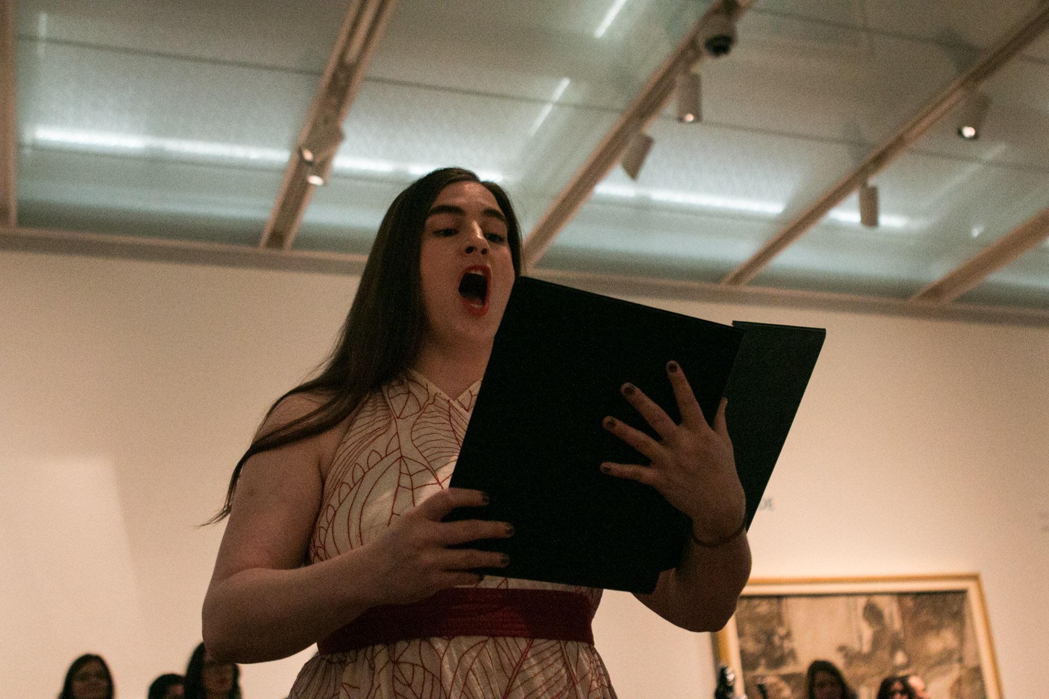 Kelly Merka Nelson performs a solo during From Those Who Follow The Echoes at the McNay Art Museum.