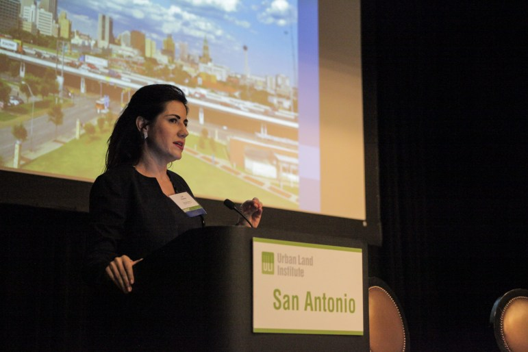 Assistant City Manager Lori Houston speaks at the luncheon for San Antonio Urban Land Institute (ULI).