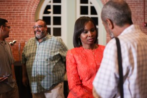 Mayor Ivy Taylor speaks with a supporter after she lost her re-election bid to Councilman Ron Nirenberg (D8).