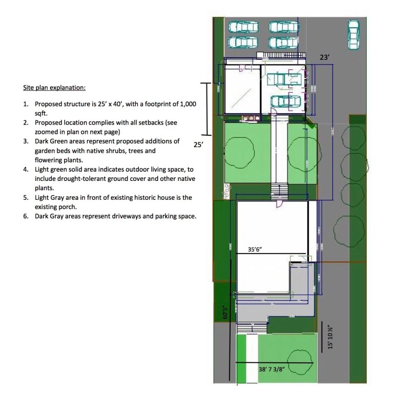 Site plan for a proposed two-story garage with three attached apartments.