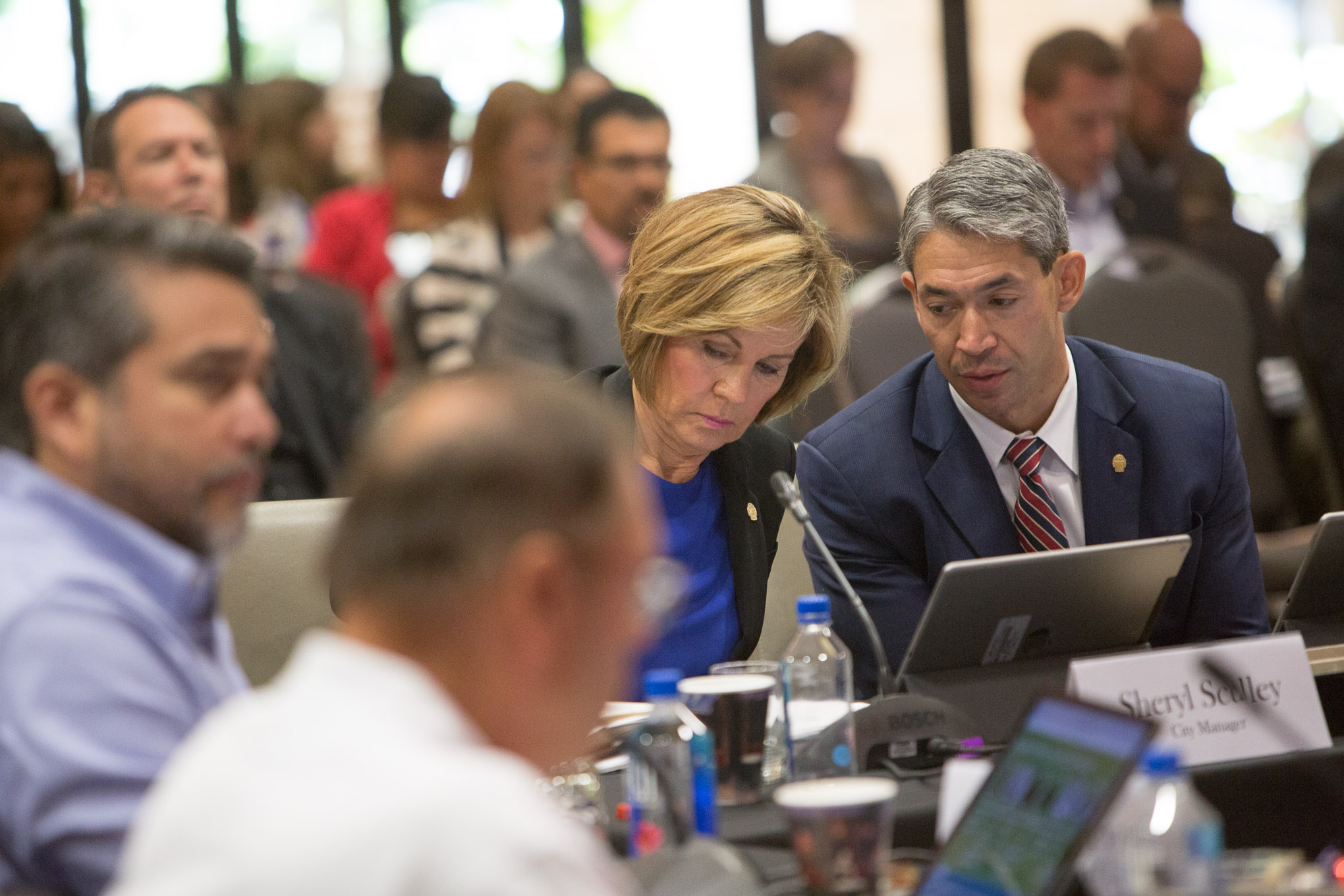 City Manager Sheryl Sculley and Mayor Ron Nirenberg.