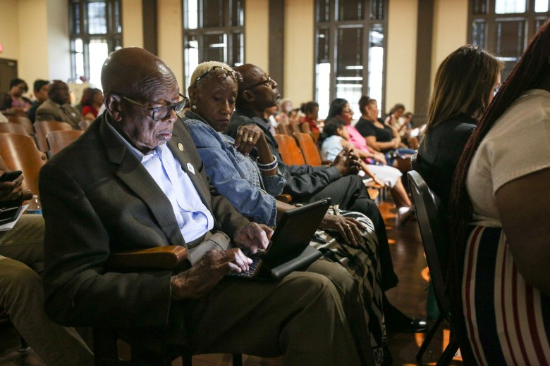 San Antonio NAACP Chapter President Oliver Hill during the meeting discussing the future of Ella Austin Community Center.
