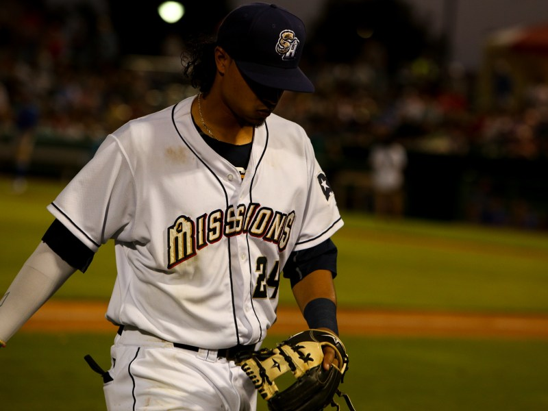 San Antonio Missions second baseman Noah Perio finishes out an inning at Nelson W. Wolff Municipal Stadium.