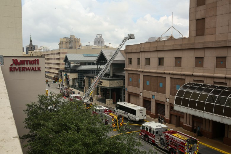 45 San Antonio Fire Department units responded to the three-alarm fire at Rivercenter Mall.