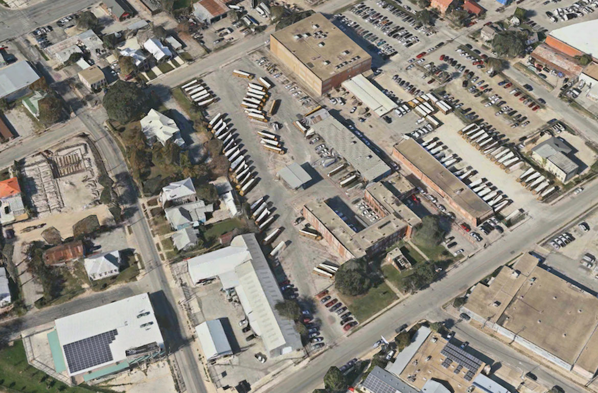 A satellite image of the property approved for the Gray Street Partners development within close proximity to the Pearl.
