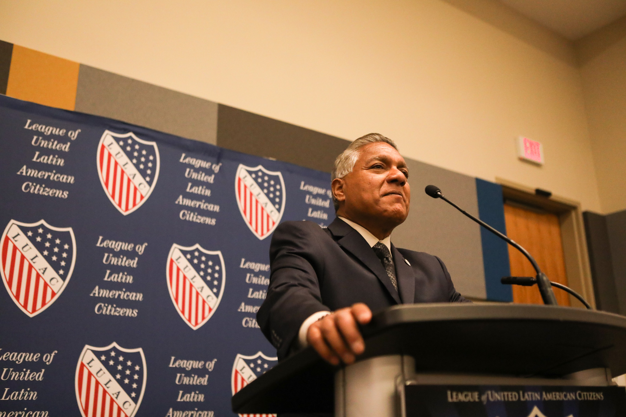 LULAC National General Council Luis Vera speaks at the press conference at the 2017 LULAC National Convention & Exposition.