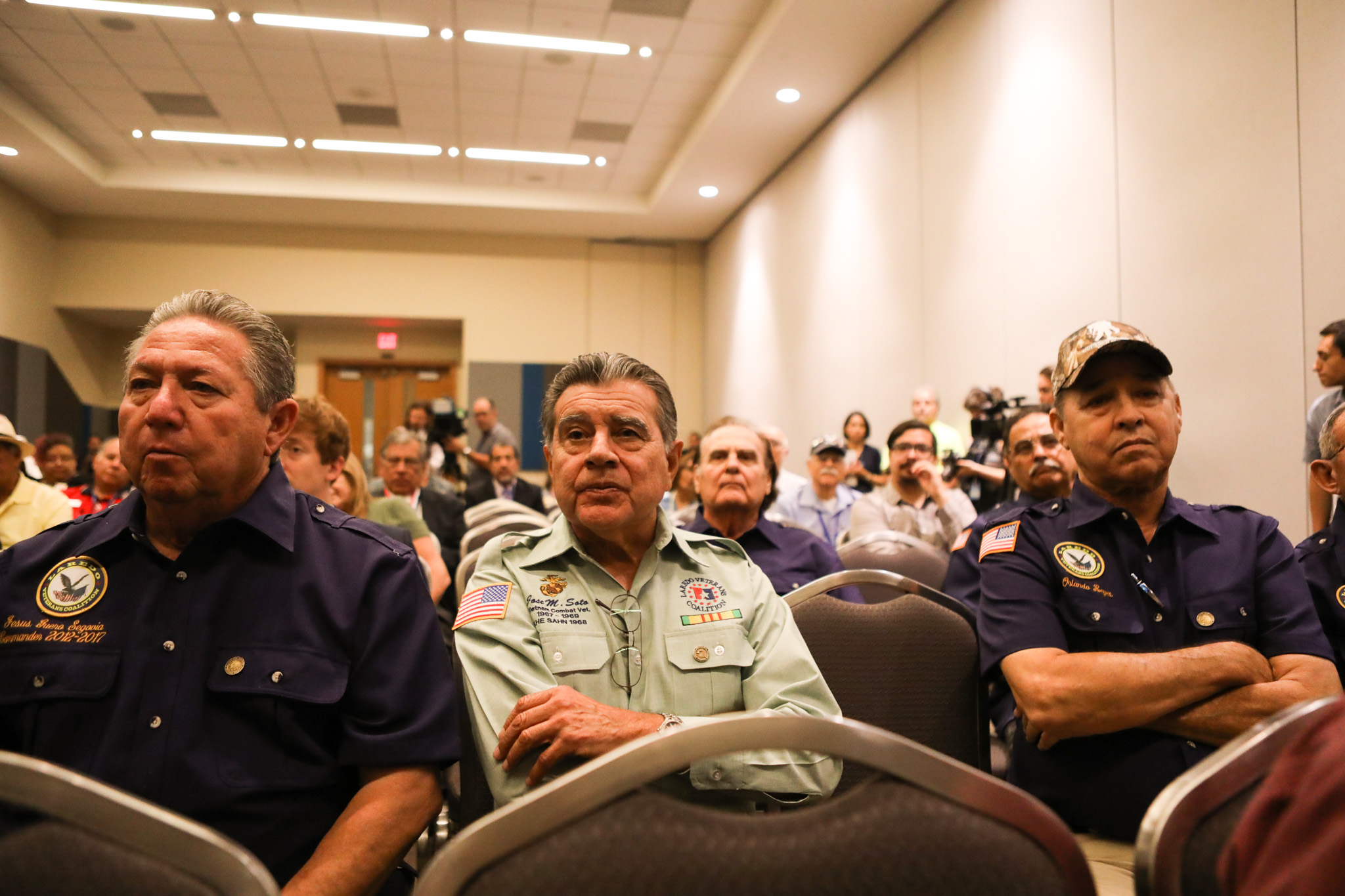 Laredo Veterans Coalition members (from left) Jesus Segovia, Jose Soto, and Orlando Reyes attend the press conference at the 2017 LULAC National Convention & Exposition.