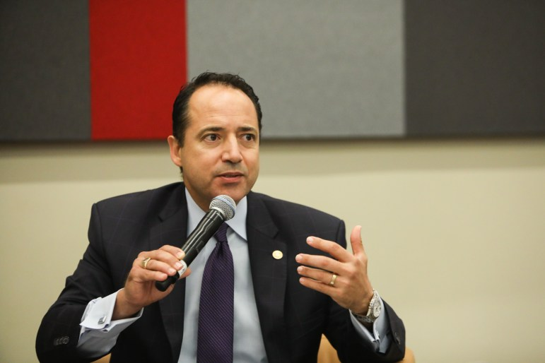 "State Senator José Menéndez (D26) speaks at a press conference titled ""Bottom Line: Business Beyond Bathrooms"" at the Henry B. Gonzalez Convention Center."