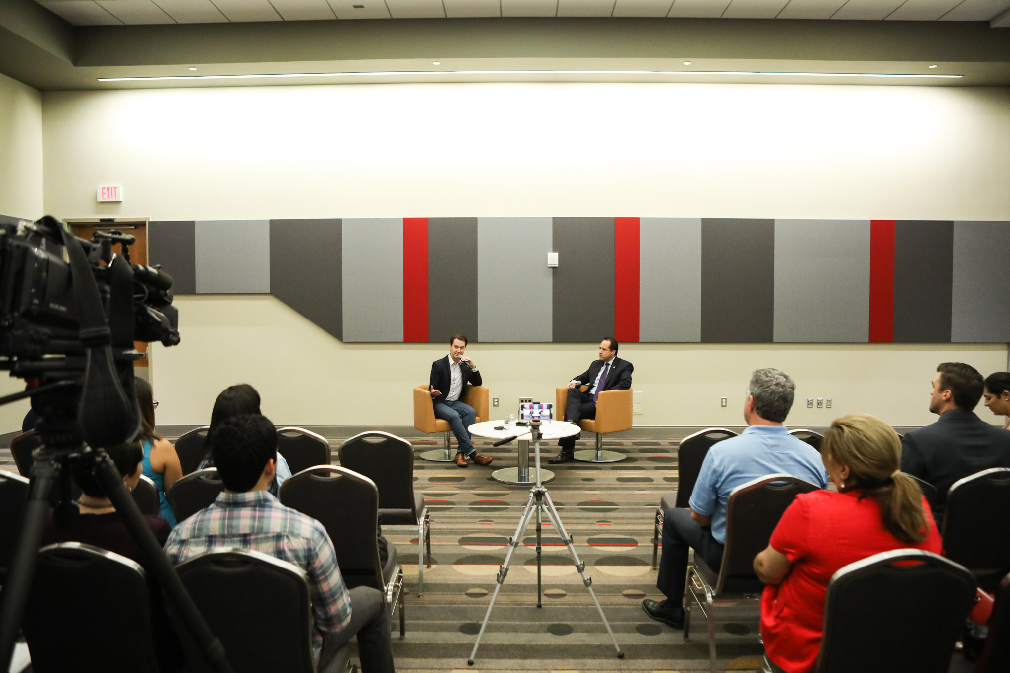 """(From left) Tech Bloc CEO David Heard and State Senator José Menéndez (D26) lead a press conference titled """"Bottom Line: Business Beyond Bathrooms"""" at the Henry B. Gonzalez Convention Center."""