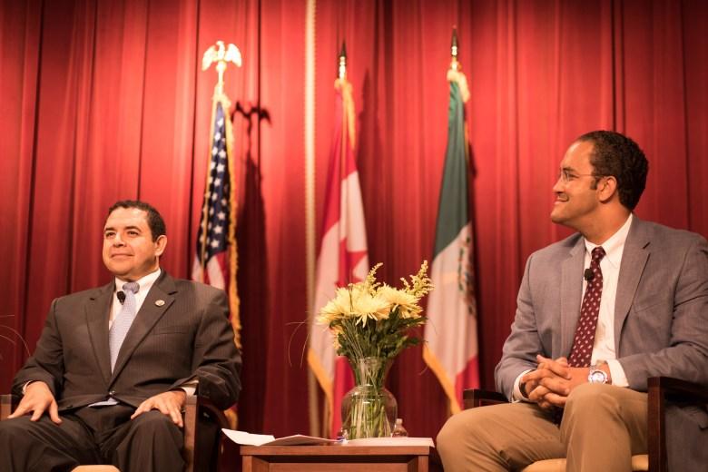 Congressman Henry Cuellar (D-Texas) and Congressman Will Hurd (R-Texas) speak in a conversation regarding NAFTA and trade policy at the Pearl Stables.