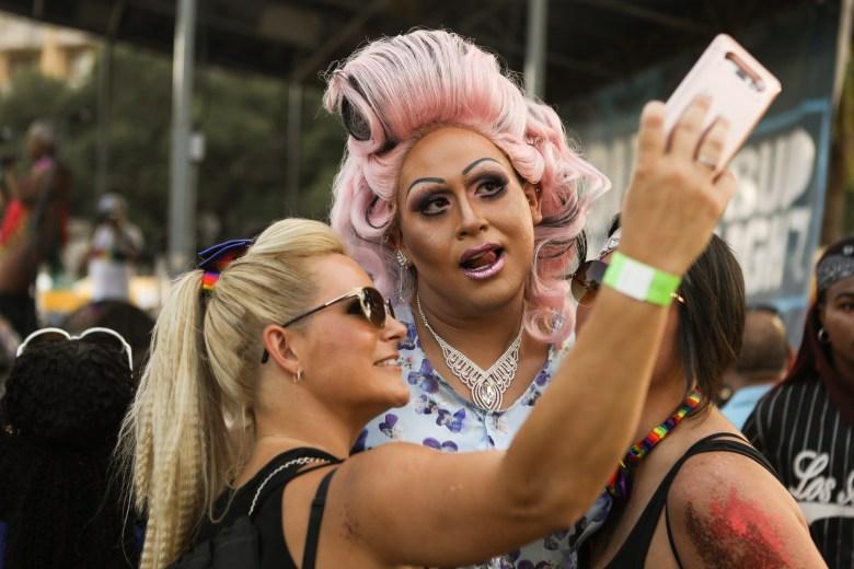 Adora Minaj poses for a selfie at the PRIDE Bigger Than Texas Festival.