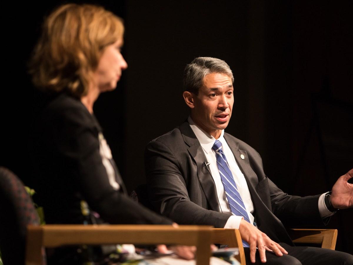 "Mayor Ron Nirenberg speaks at ""A Conversation with Mayor Ron Nirenberg"" at UTSA Downtown Campus Buena Vista Street Building Theater."
