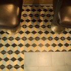 Patterned tiles from Mexico line the floor of Outlaw Kitchens.