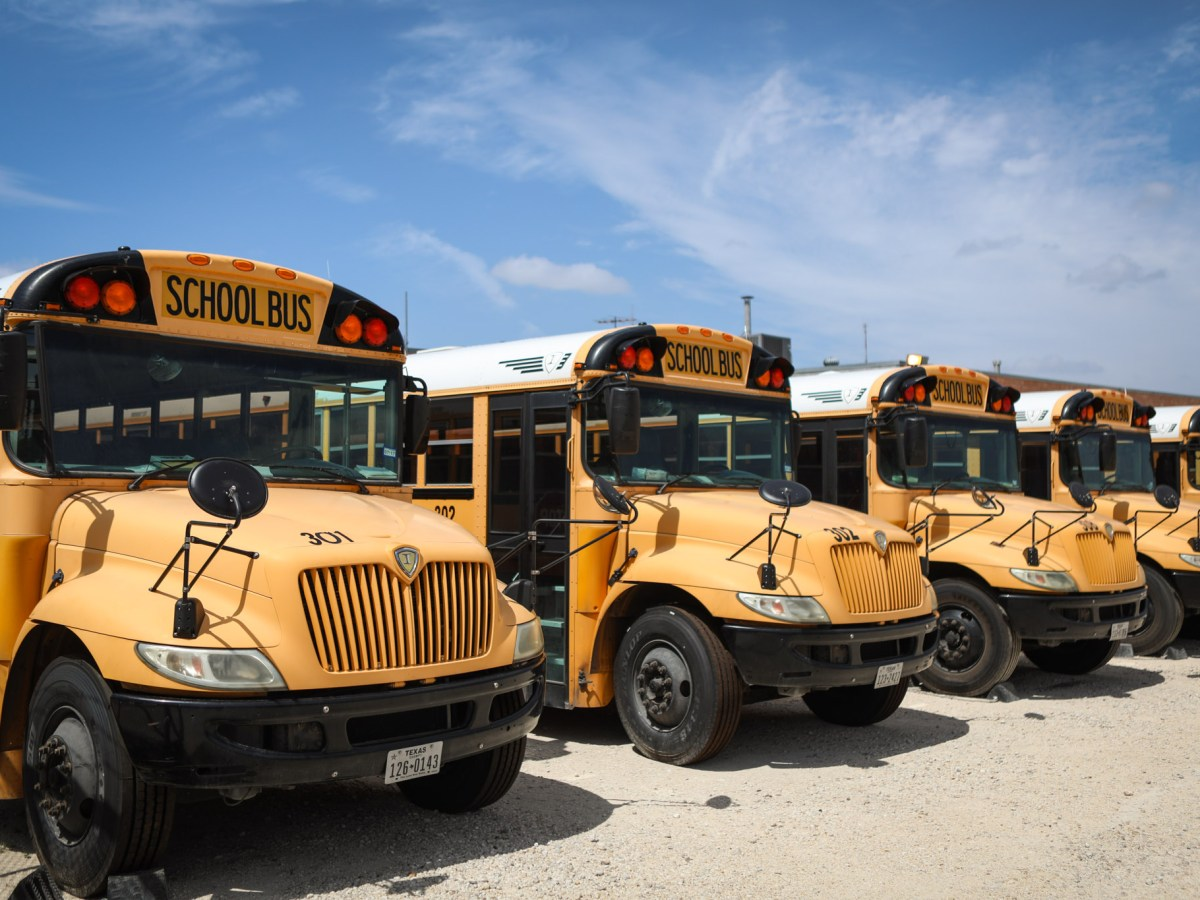 The SAISD school bus parking lot is part of the area that GrayStreet Partners is redeveloping across Broadway from the Pearl.