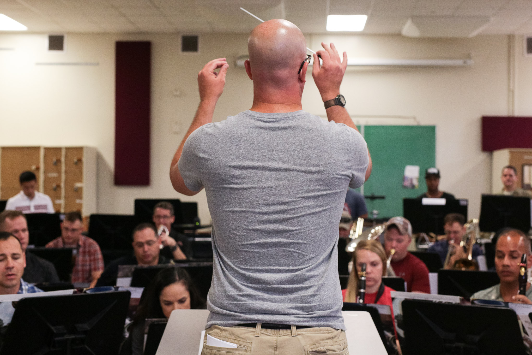 The Army's 323D Band 'Fort Sam's Own' rehearse for an upcoming performance at Fort Hood.