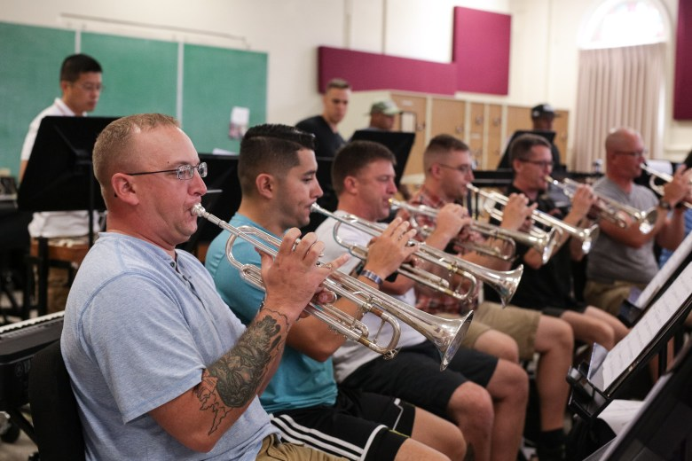 The trumpet section of the Army 323D Band.