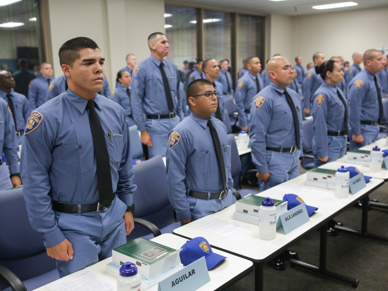 The largest cadet class of 2017 stands at attention on their first day of training.