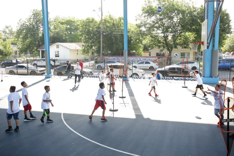 50 children from the 4th to 7th grade age level participate in the Westside Pride basketball camp.