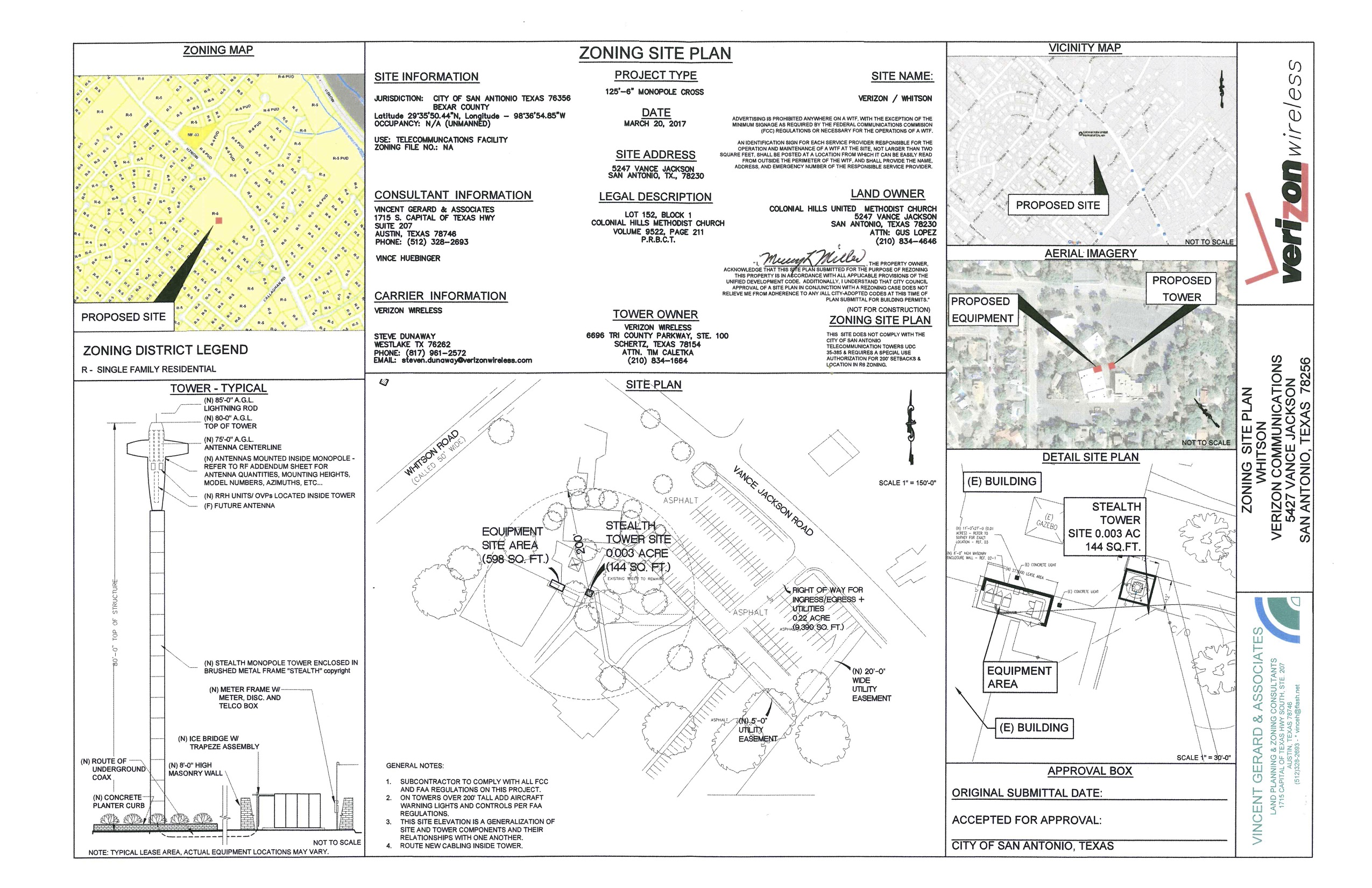 The site plan for Verizon's cell tower at Colonial Hills United Methodist Church includes the tower/cross design.