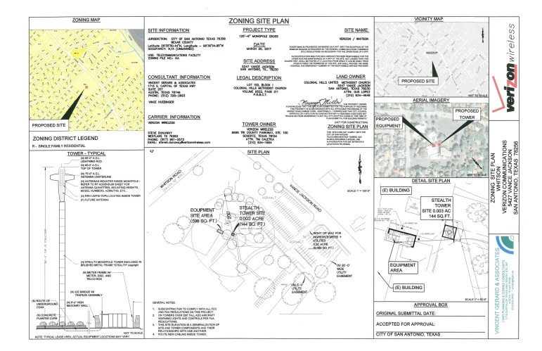 The site plan for Verizon's cell tower at Colonial Hills United Baptist Church includes the tower/cross design.