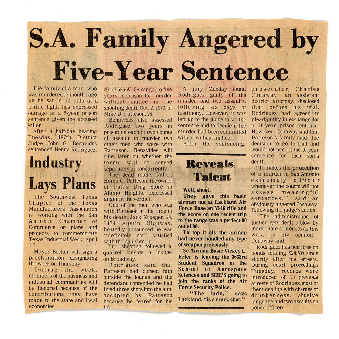 A newspaper article in response to the verdict of Henry Rodriguez.