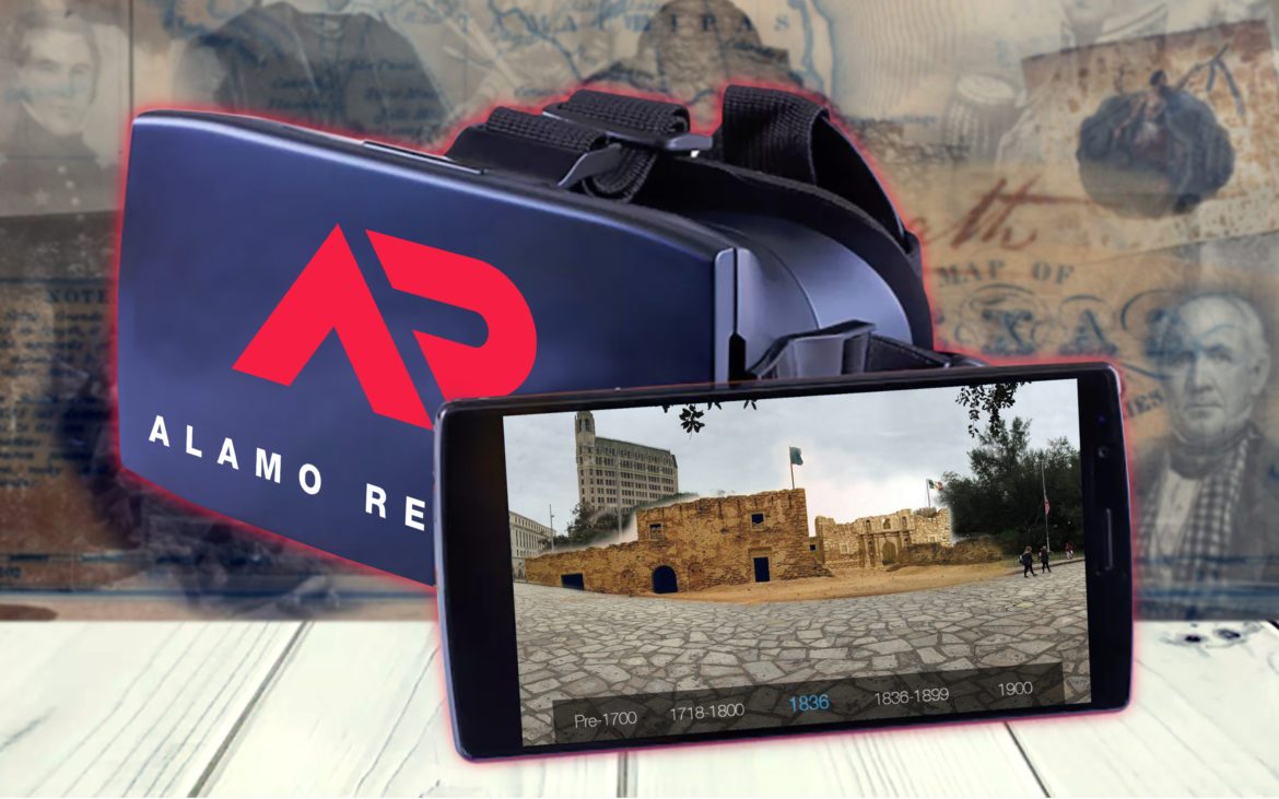 The title screen of the augmented reality Alamo experience.