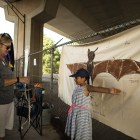 Alyssa, 8, compares her arm length to a bat's wings at the 5th Annual Bat Loco Bash.