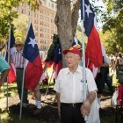 Don Lawrence, 91, stands in opposition of the removal of the Confederate monument in Travis Park.