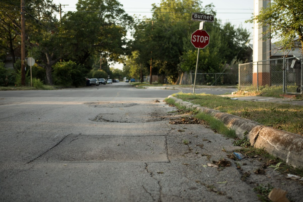 The intersection of Burnet and N. Palmetto streets is an example of repairs needed in District 2.