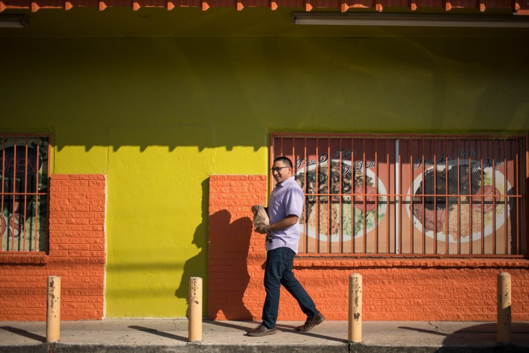 Diego Mancha Dominguez picks up some breakfast tacos before going in to work at cafécollege.