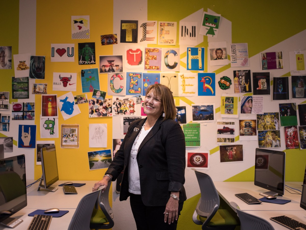 Family Service Association of San Antonio President and CEO Nancy Hard stands in the Teen Tech Center.
