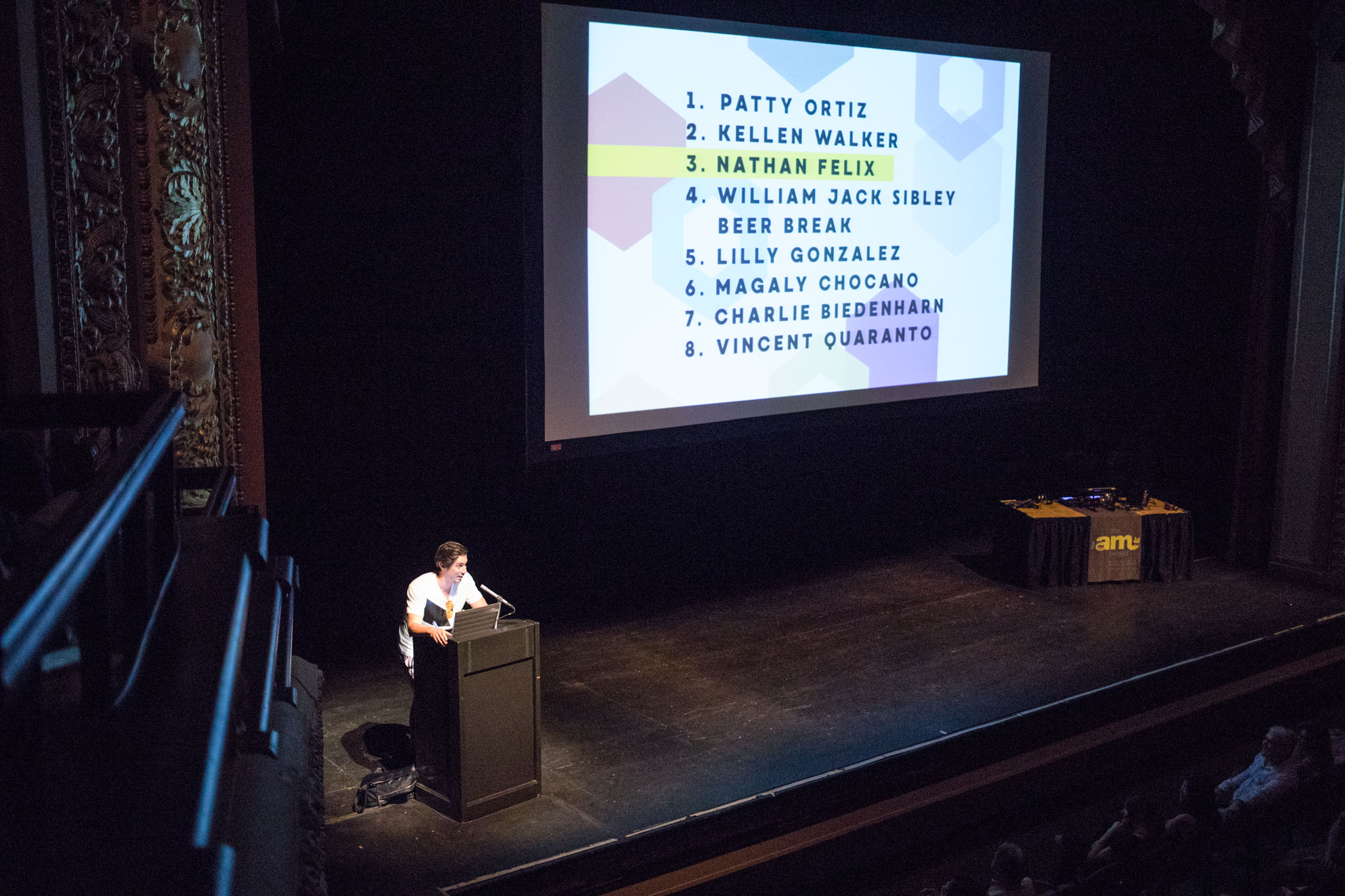 Nathan Felix begins his presentation on stage at PechaKucha Vol. 27 at the Charline McCombs Empire Theatre.