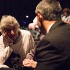 Film producer Marcia Nasatir chats with Mayor Ron Nirenberg before the San Antonio Film Festival awards ceremony.