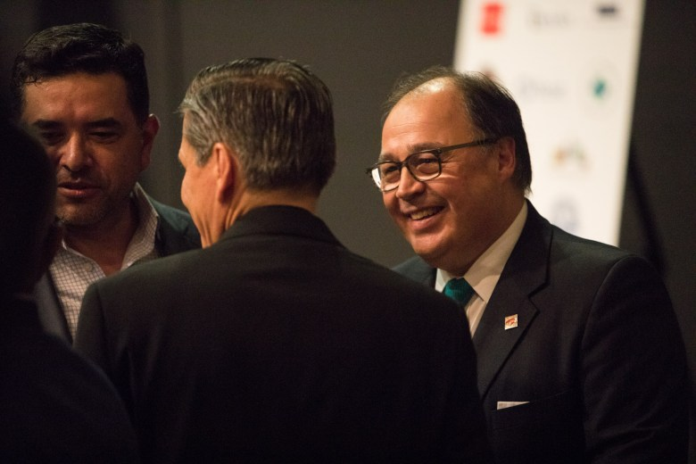 San Antonio Hispanic Chamber of Commerce President and CEO Ramiro Cavazos socializes before the San Antonio-Mexico Friendship Council reception in honor of Ambassador Reyna Torres Mendivil at the Mexican Cultural Institute.