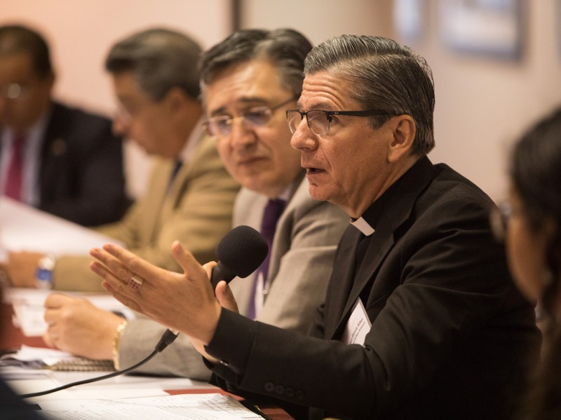 Archbishop Gustavo-García-Siller makes a comment at the Texas SB4 Round Table discussion at UNAM Campus San Antonio.