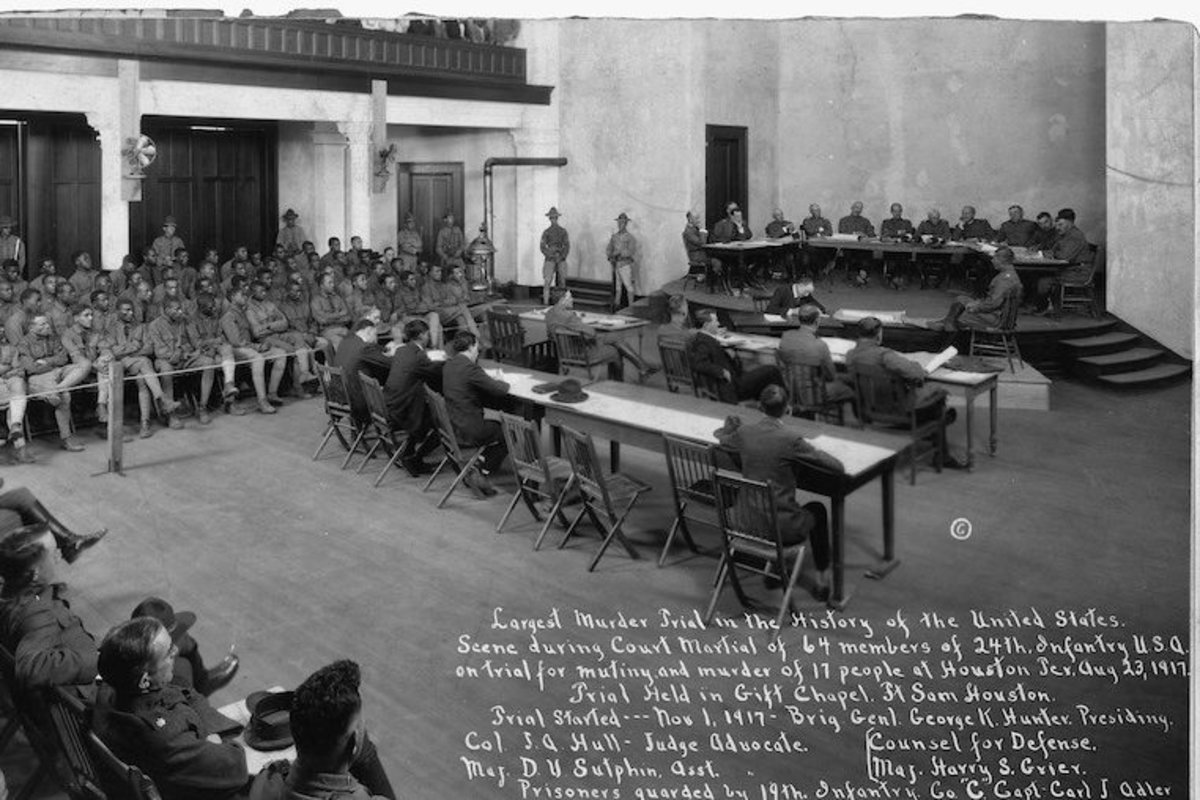 Court martial for African American members of the Third Battalion, 24th Infantry on Aug 23, 1917.